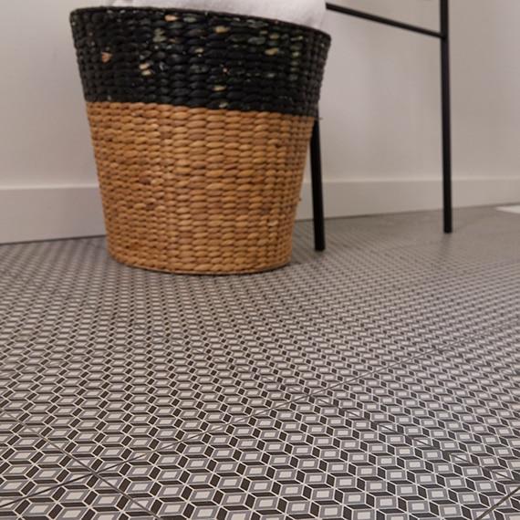 Close up of floor with encaustic look patterned floor tile