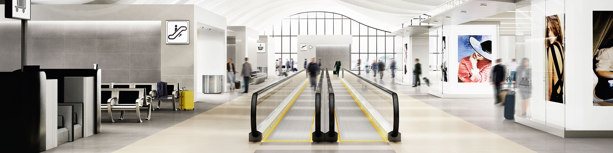 A large airport corridor with two different colors of large format tile on the floor, both monochromatic and chic