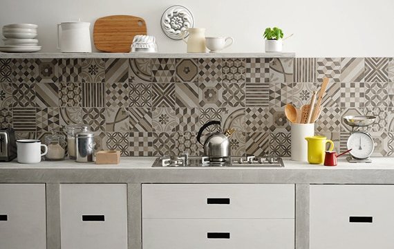 Small modern kitchen with encaustic gray and white encaustic tile on the backsplash