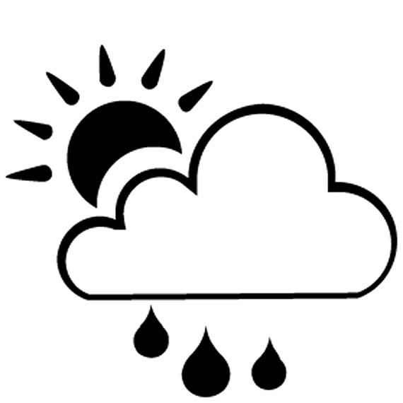 Icon with cloud, sun, and raindrops indicating a product can be used outdoors