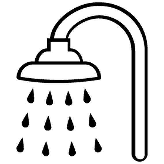 An illustration of a shower head with water coming from it