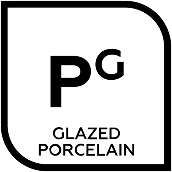 An icon representing Glazed porcelain with the letter P and the letter G in superscript