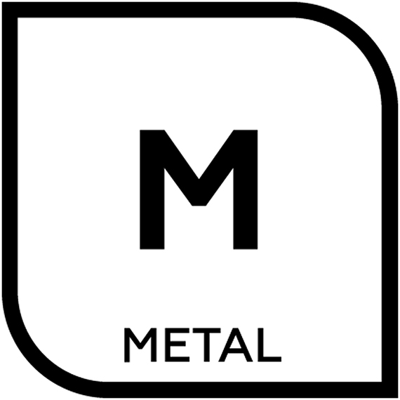 An icon represenitng metallic tile with the letter M