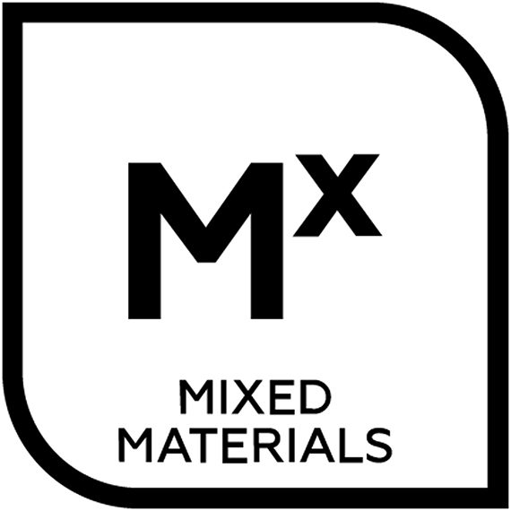 An icon representing mixed materials tile with the letter M and the letter X in superscript