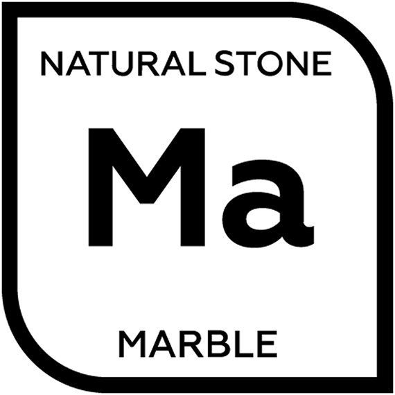 An icon representing natural marble with the letter M