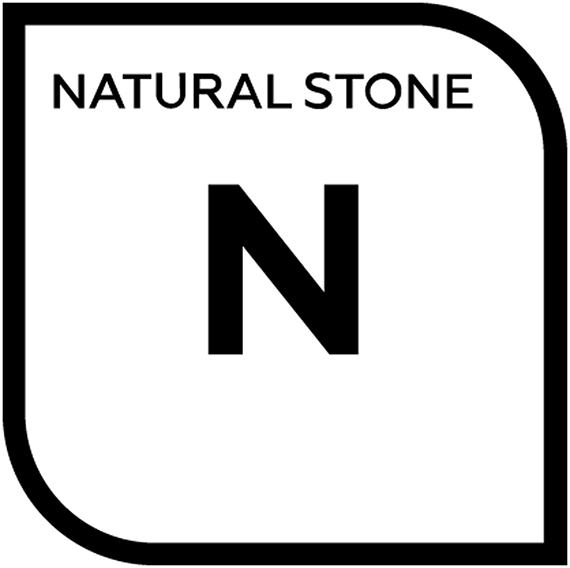 An icon representing natural stone with the letter N