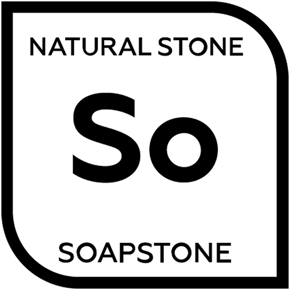 An icon representing natural soapstone with the letters S and O