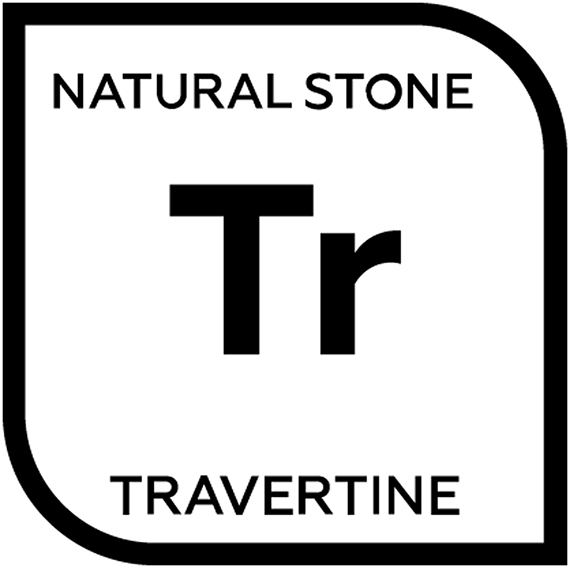 An icon representing natural travertine tile with the letter T