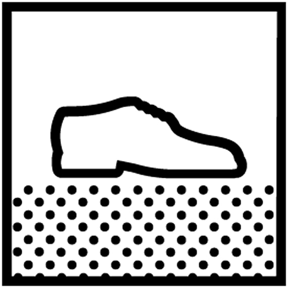 Icon depicting a shoe walking on a surface to represent slip resistant tile